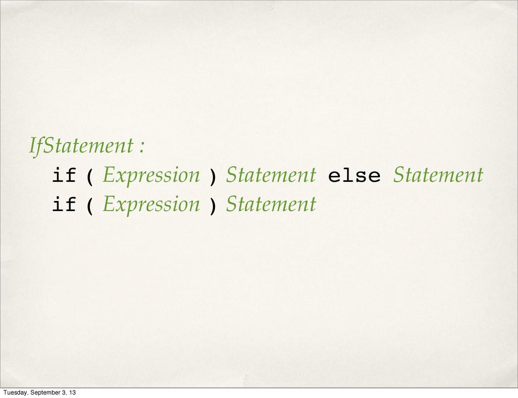 IfStatement : if ( Expression ) Statement else ...