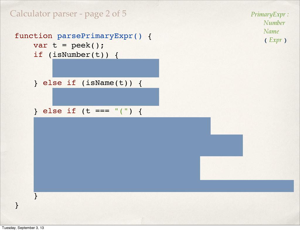 function parsePrimaryExpr() { var t = peek(); i...
