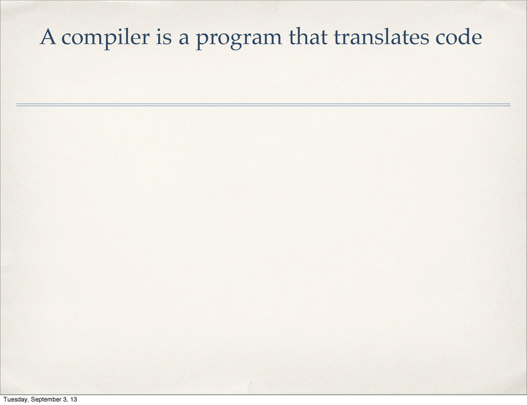 A compiler is a program that translates code Tu...