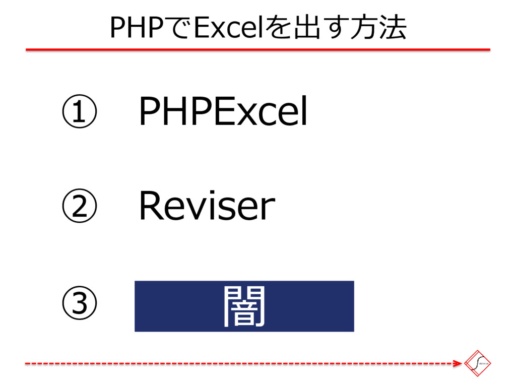 ① PHPExcel PHPでExcelを出す方法 ② Reviser ③ ApachePOI...