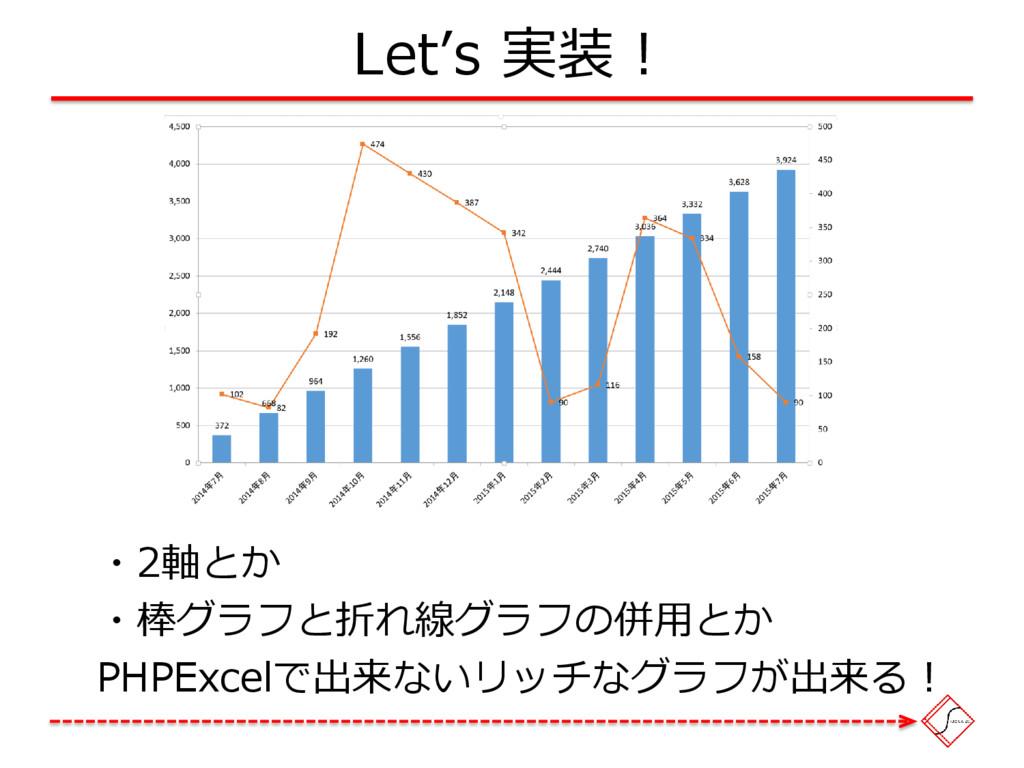 Let's 実装! ・2軸とか ・棒グラフと折れ線グラフの併用とか PHPExcelで出来ない...
