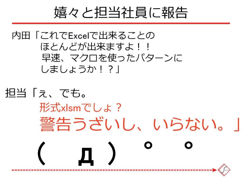 嬉々と担当社員に報告 内田「これでExcelで出来ることの ほとんどが出来ますよ!! 早速、マ...