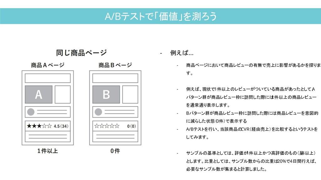 A/Bテストで「価値」を測ろう - 例えば... - 商品ページにおいて商品レビューの有無で売...