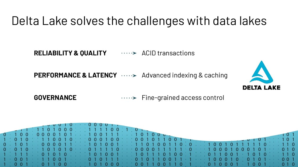 Delta Lake solves the challenges with data lake...