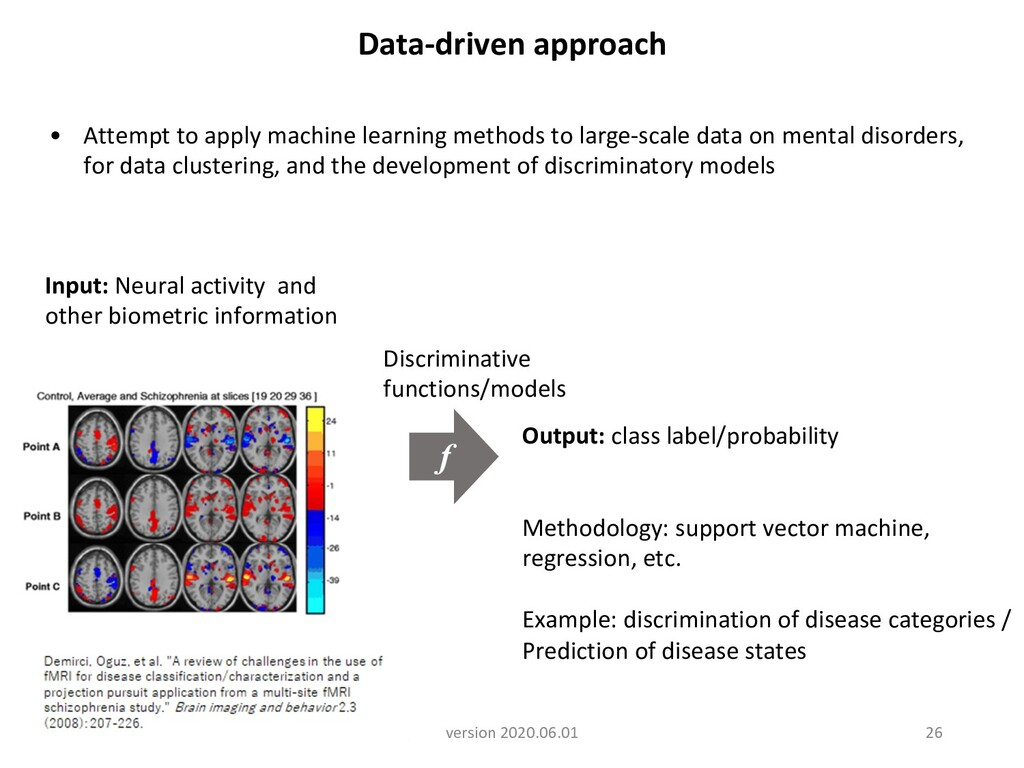 Data-driven approach Discriminative functions/m...