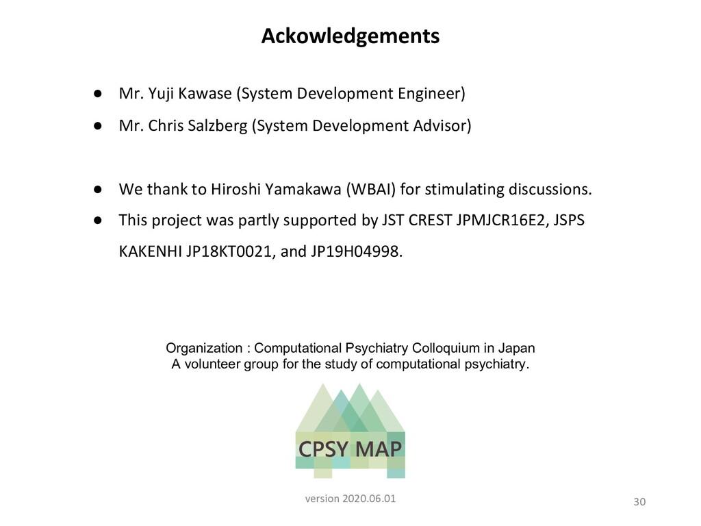 30 Ackowledgements ● Mr. Yuji Kawase (System De...