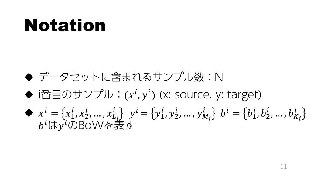 Notation  データセットに含まれるサンプル数:N  i番目のサンプル:(, ) (...