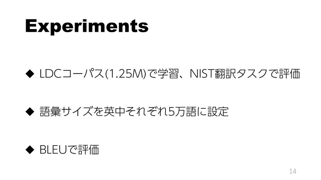 Experiments  LDCコーパス(1.25M)で学習、NIST翻訳タスクで評価  ...