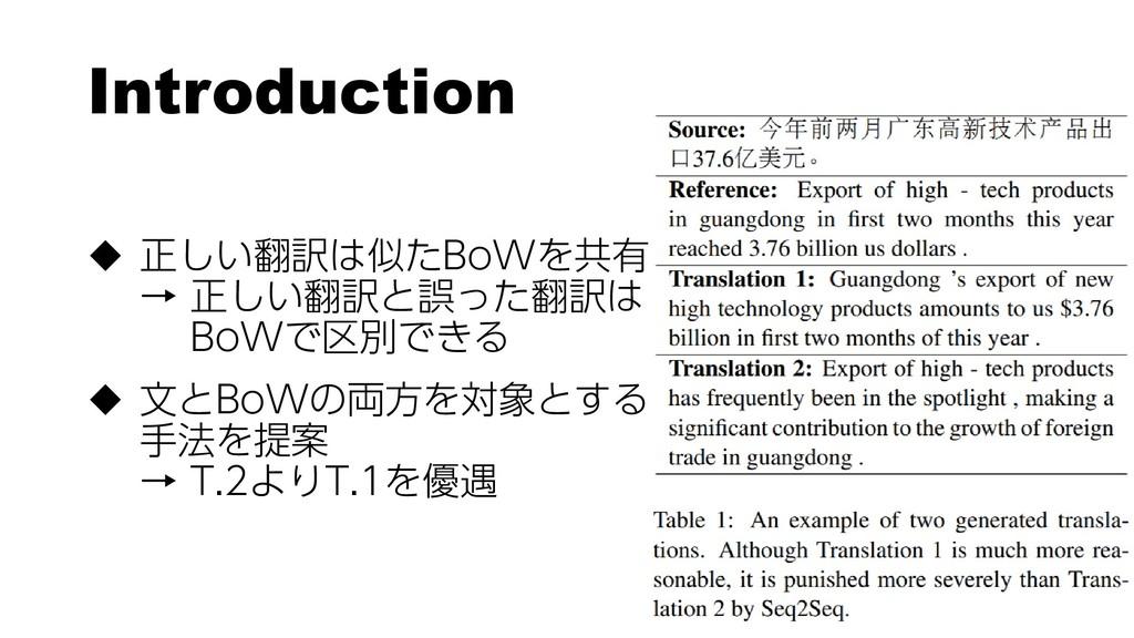 Introduction  正しい翻訳は似たBoWを共有 → 正しい翻訳と誤った翻訳は Bo...