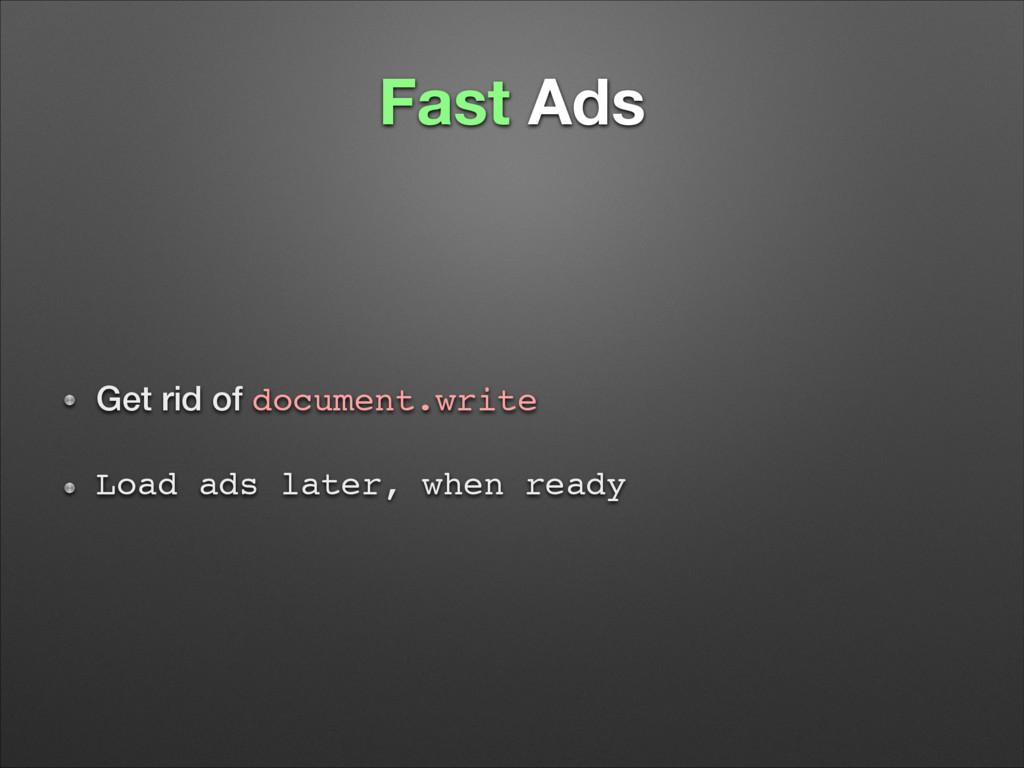 Fast Ads Get rid of document.write! Load ads la...