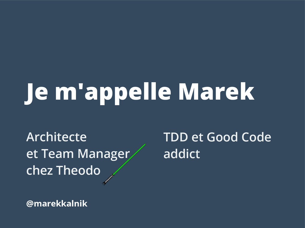 Je m'appelle Marek Architecte et Team Manager c...
