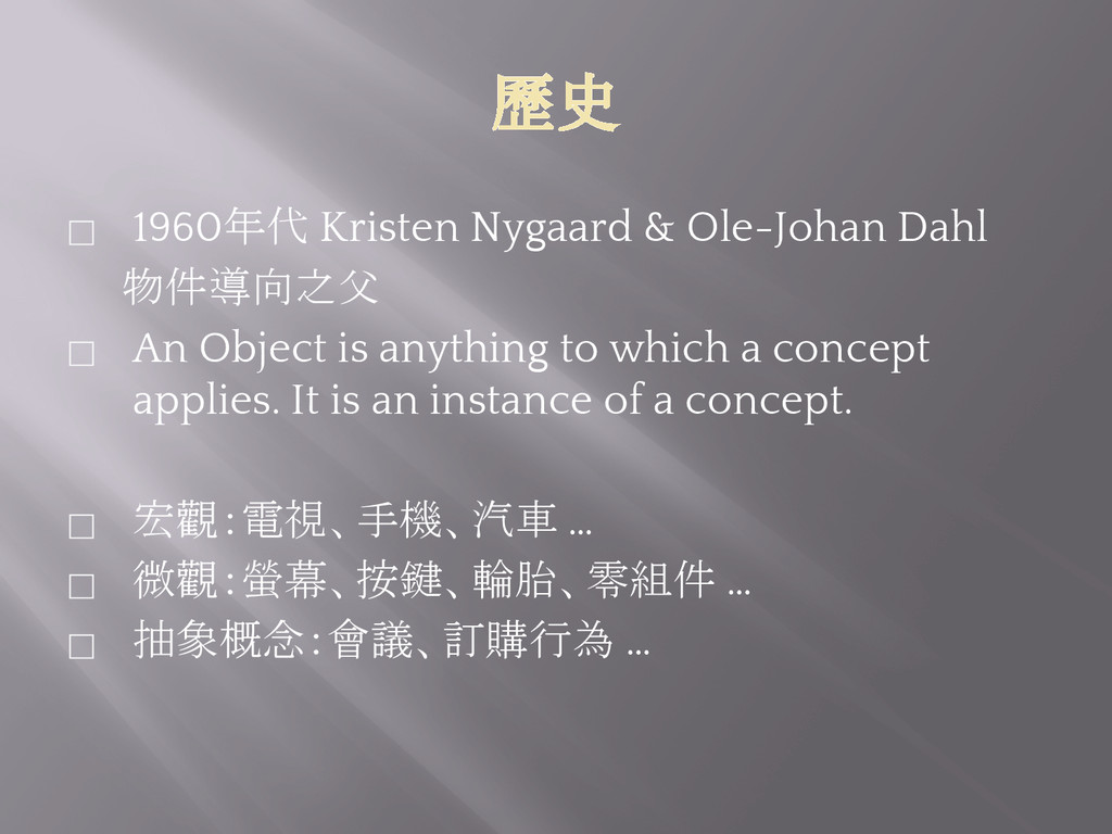 歷史 ⬜ 1960年代 Kristen Nygaard & Ole-Johan Dahl 物件...