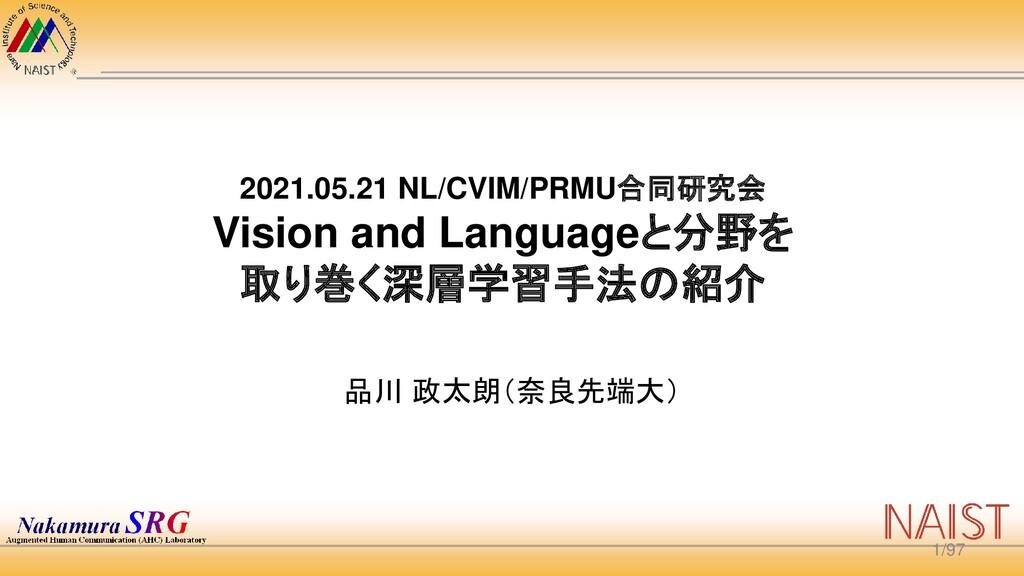 2021.05.21 NL/CVIM/PRMU合同研究会 Vision and Languag...