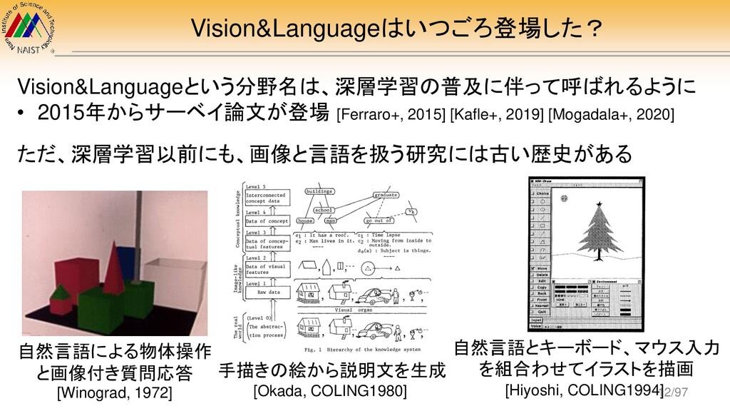 Vision&Languageはいつごろ登場した? Vision&Languageという分野名...