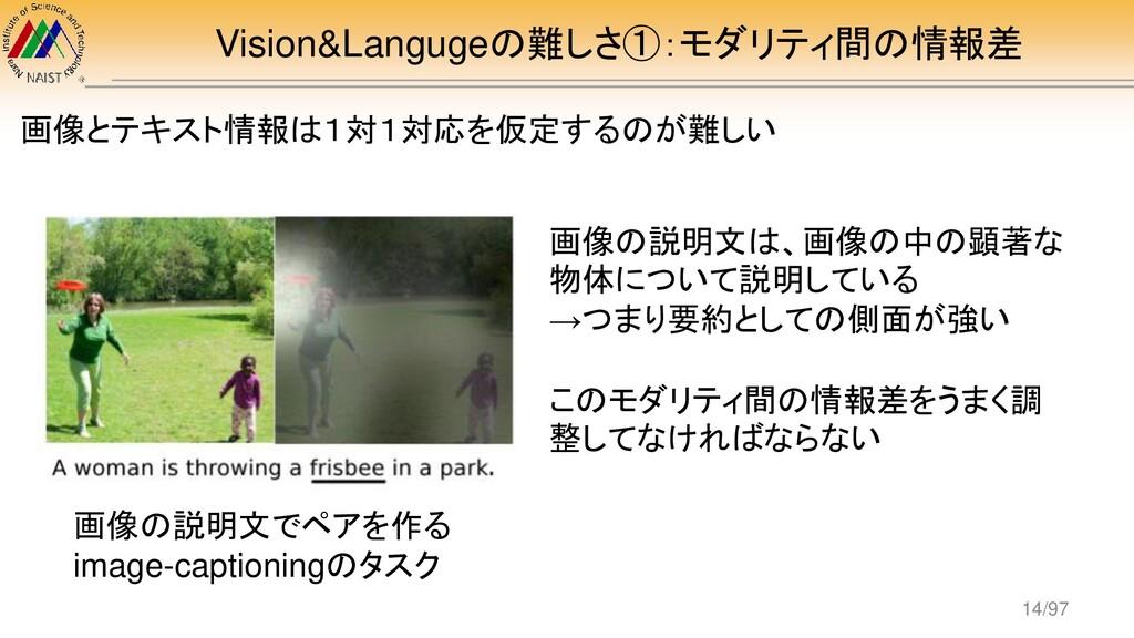 Vision&Langugeの難しさ①:モダリティ間の情報差 画像とテキスト情報は1対1対応を...