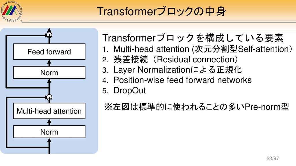 Transformerブロックの中身 Transformerブロックを構成している要素 1. ...