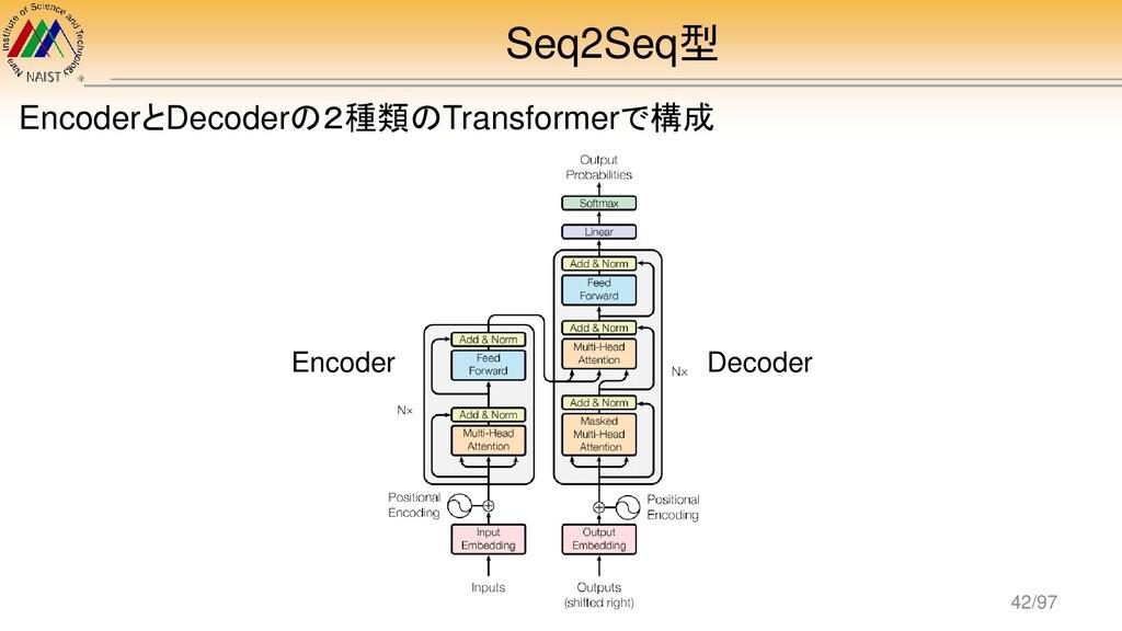 Seq2Seq型 EncoderとDecoderの2種類のTransformerで構成 Enc...