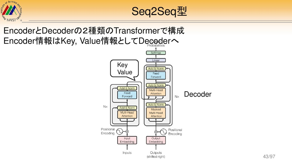 Seq2Seq型 Decoder EncoderとDecoderの2種類のTransforme...