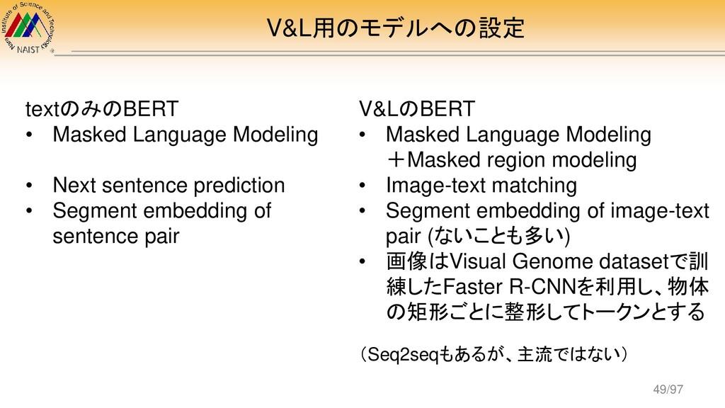 V&L用のモデルへの設定 textのみのBERT • Masked Language Mode...
