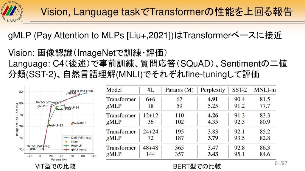 Vision, Language taskでTransformerの性能を上回る報告 gMLP...