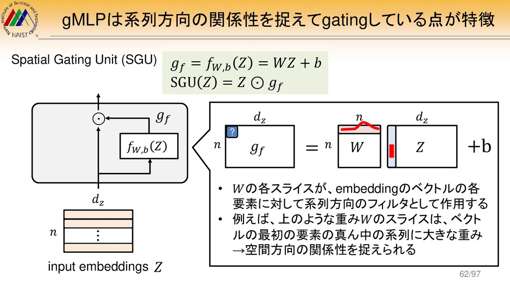gMLPは系列方向の関係性を捉えてgatingしている点が特徴 𝑊 𝑛 𝑛 𝑔𝑓 = 𝑓𝑊,𝑏...