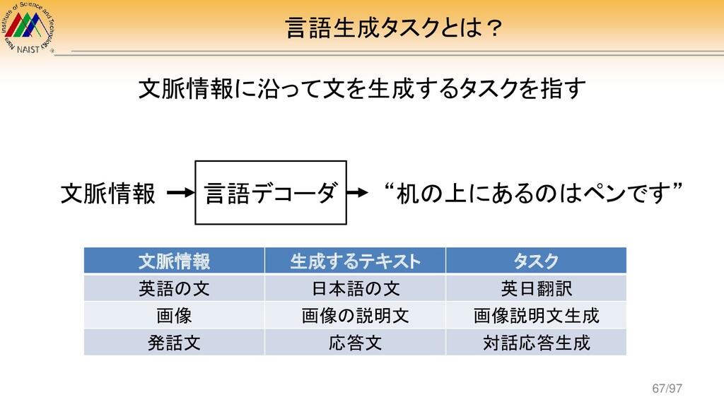 言語生成タスクとは? 文脈情報に沿って文を生成するタスクを指す 文脈情報 生成するテキスト タ...