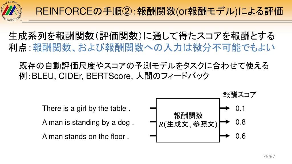 REINFORCEの手順②:報酬関数(or報酬モデル)による評価 生成系列を報酬関数(評価関数...