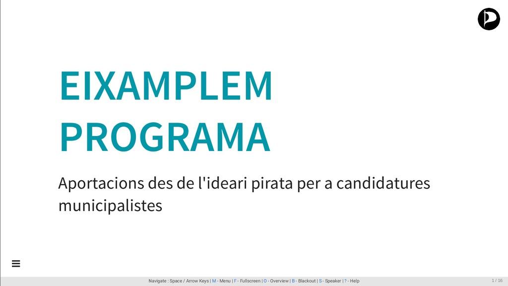 EIXAMPLEM PROGRAMA Aportacions des de l'ideari ...