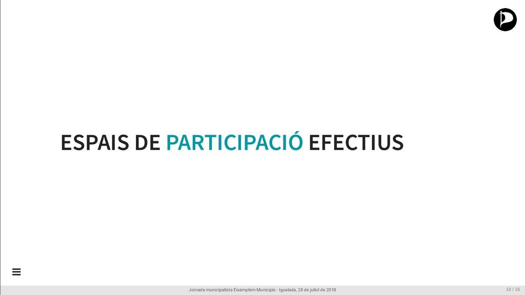 ESPAIS DE PARTICIPACIÓ EFECTIUS Jornada municip...