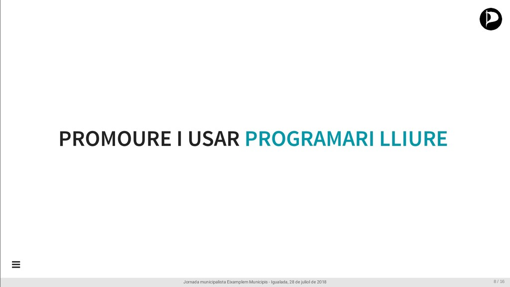 PROMOURE I USAR PROGRAMARI LLIURE Jornada munic...