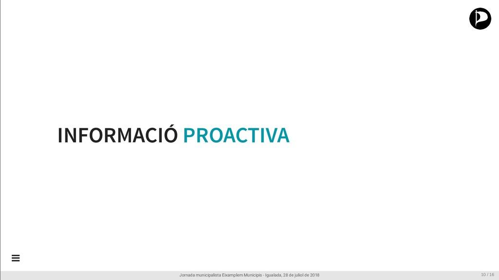 INFORMACIÓ PROACTIVA Jornada municipalista Eixa...