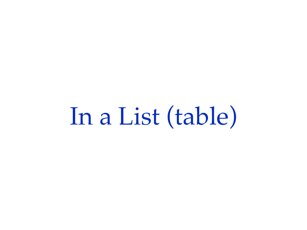 In a List (table)