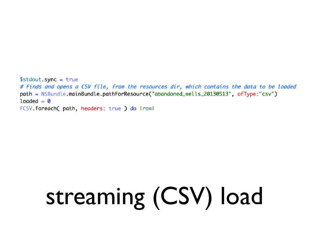 streaming (CSV) load