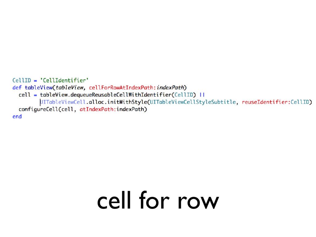 cell for row