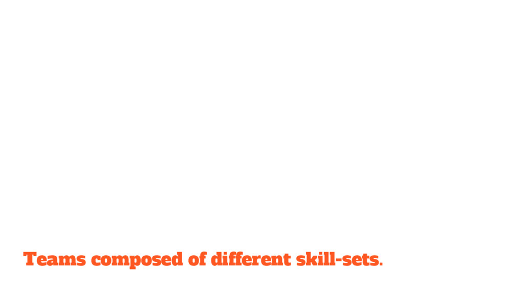 Teams composed of different skill-sets.