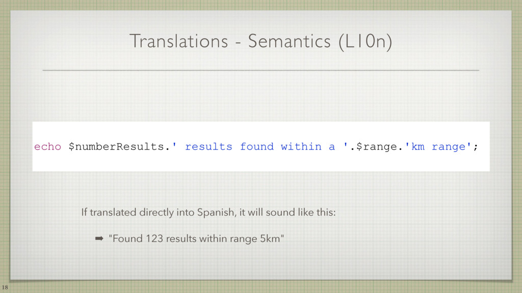 Translations - Semantics (L10n) 18 echo $number...