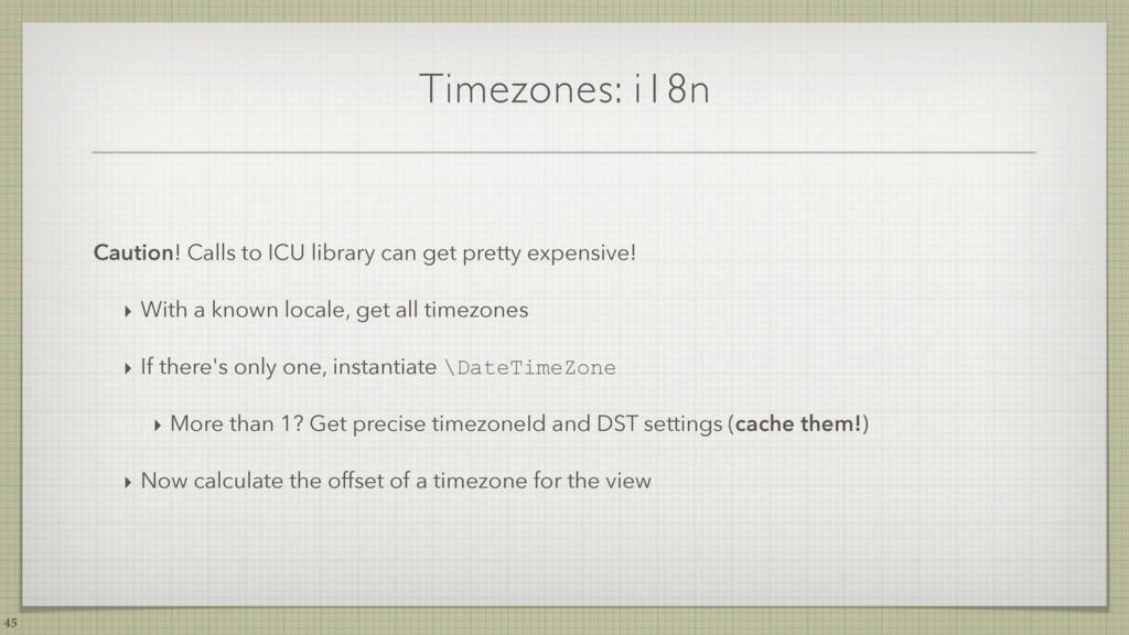 Timezones: i18n Caution! Calls to ICU library c...