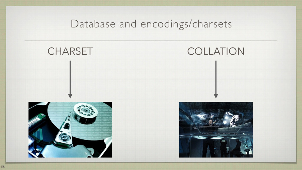 Database and encodings/charsets CHARSET 58 COLL...