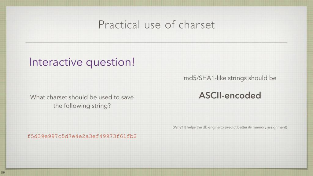 Practical use of charset md5/SHA1-like strings ...