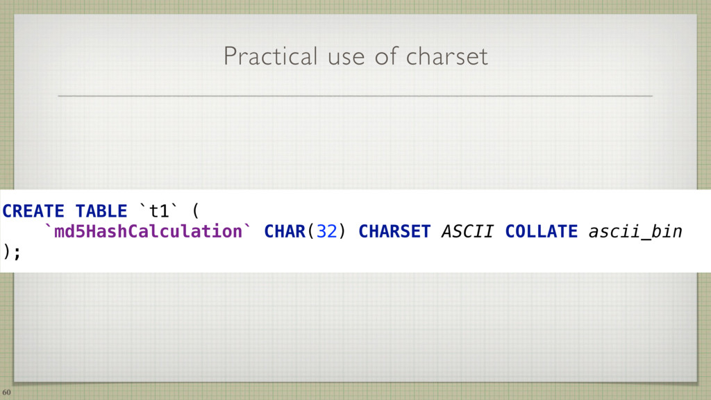 Practical use of charset CREATE TABLE `t1` ( `...