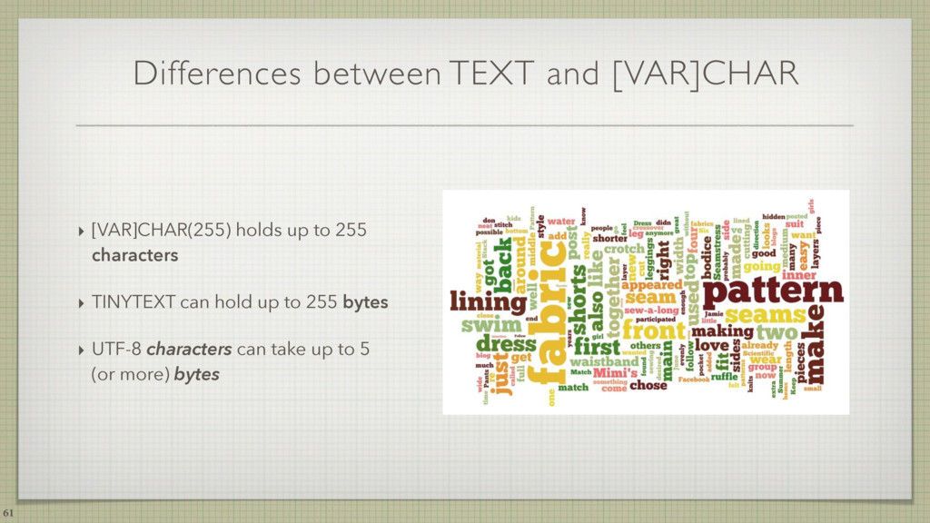 Differences between TEXT and [VAR]CHAR ‣ [VAR]C...