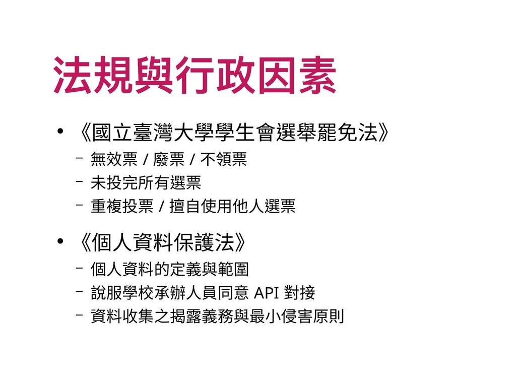 法規與行政因素 ● 《國立臺灣大學學生會選舉罷免法》 – 無效票 / 廢票 / 不領票 – 未...