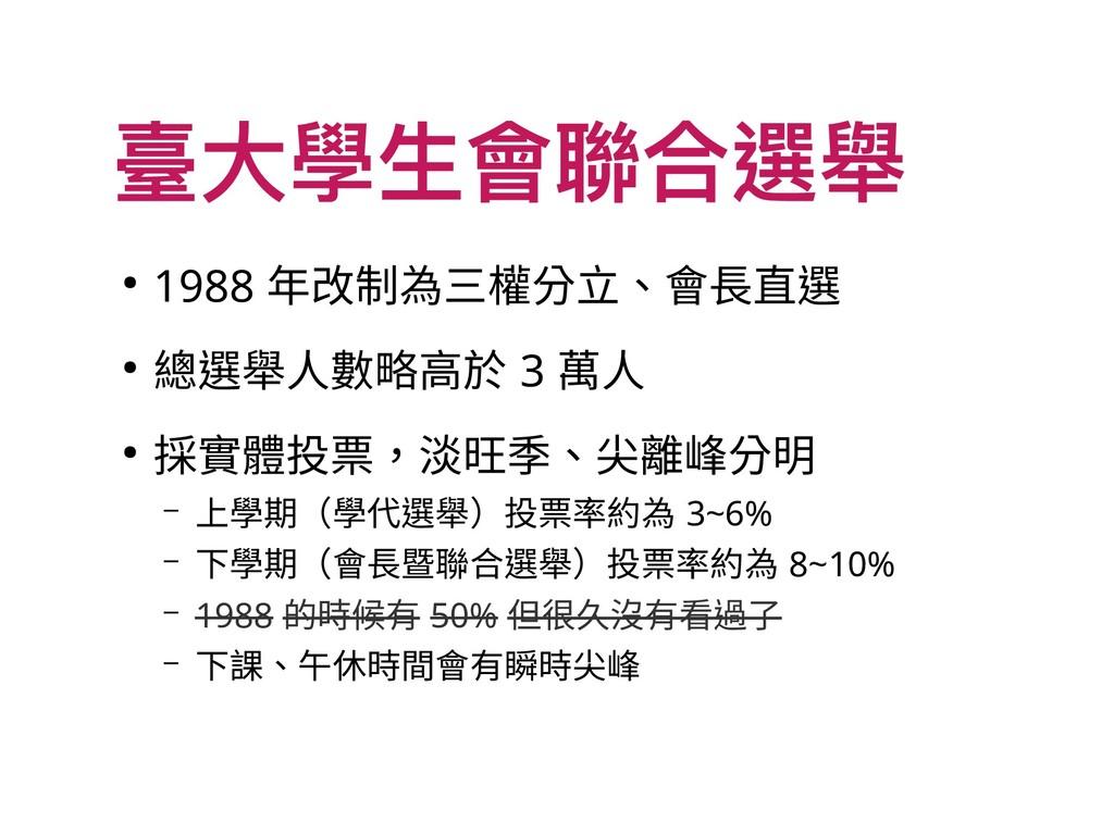 臺大學生會聯合選舉 ● 1988 年改制為三權分立、會長直選 ● 總選舉人數略高於 3 萬人 ...