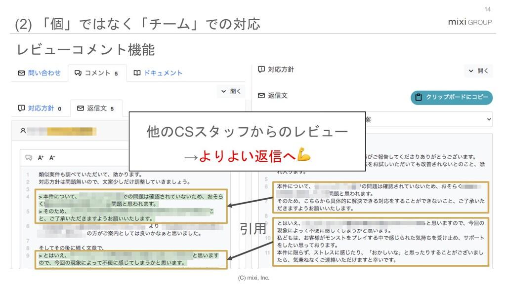 (C) mixi, Inc. 14 (2) 「個」ではなく「チーム」での対応 レビューコメント...
