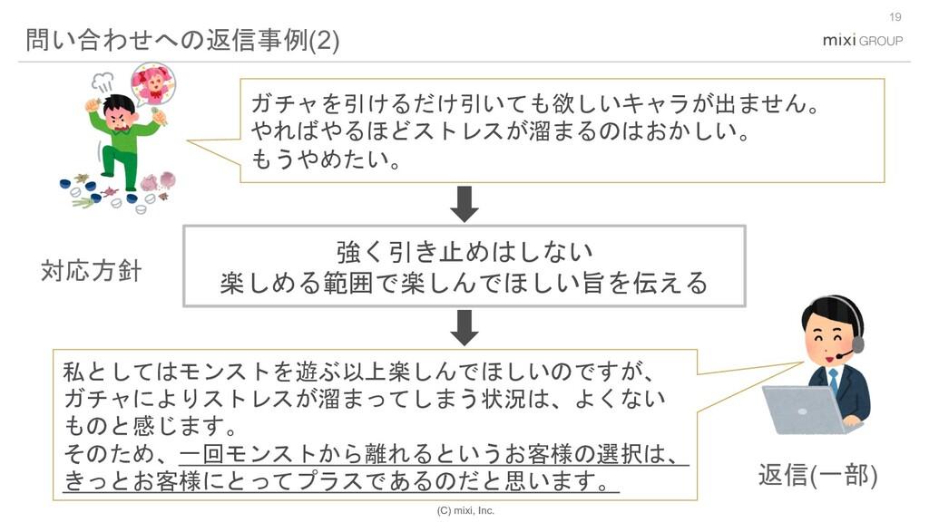 (C) mixi, Inc. 19 問い合わせへの返信事例(2) ガチャを引けるだけ引いても欲...
