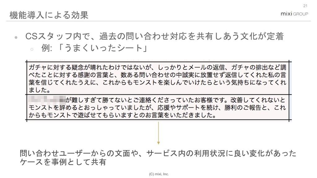 (C) mixi, Inc. 21 機能導入による効果 問い合わせユーザーからの文面や、サービ...