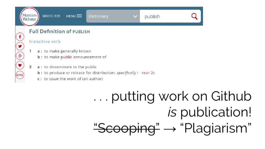 ". . . putting work on Github is publication! ""S..."