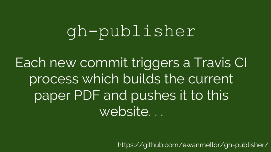 gh-publisher Each new commit triggers a Travis ...