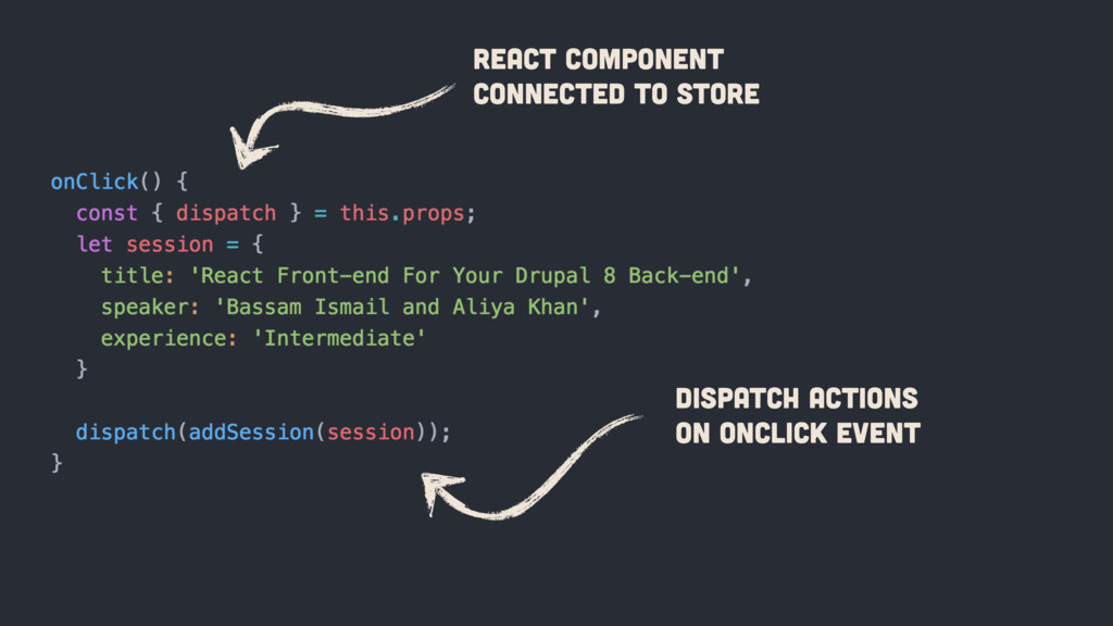 Dispatch Actions on onClick event React Compone...