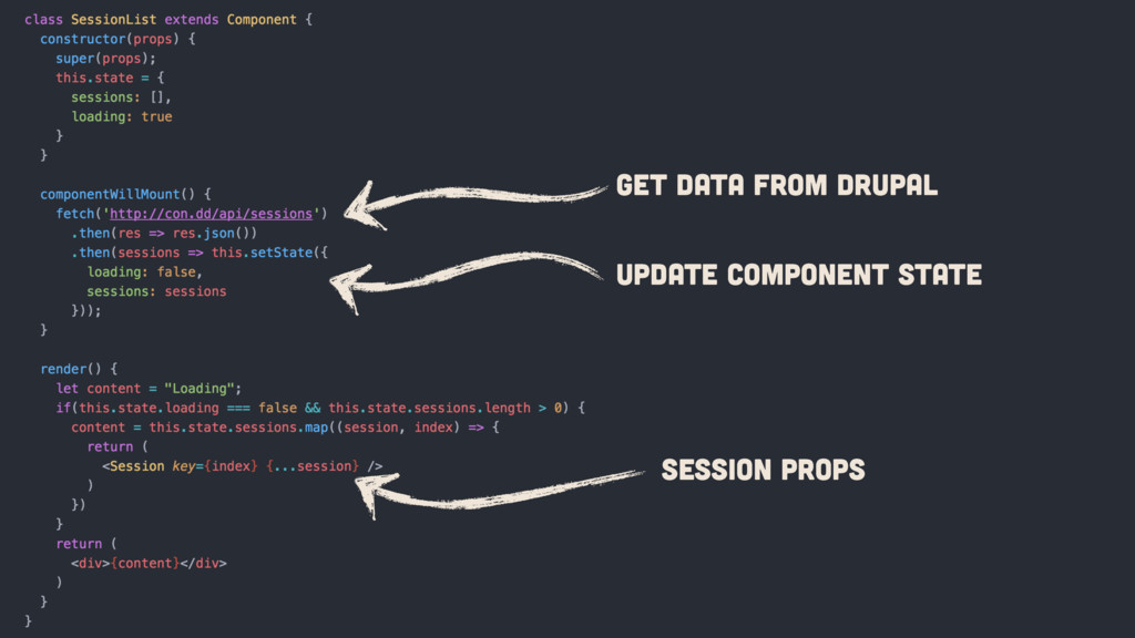 GET data from Drupal Update Component State Ses...